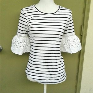 Ann Taylor Ruffle Sleeve Striped Blouse Sz Small